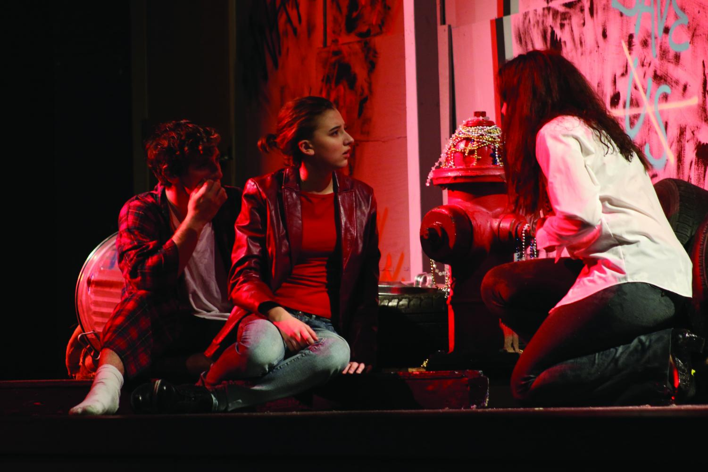 Allie Koenig, Atticus Keene, Sarida Morejon act passionately in the Alley Cat Players production of Marisol. photo courtesy of Ella Neff