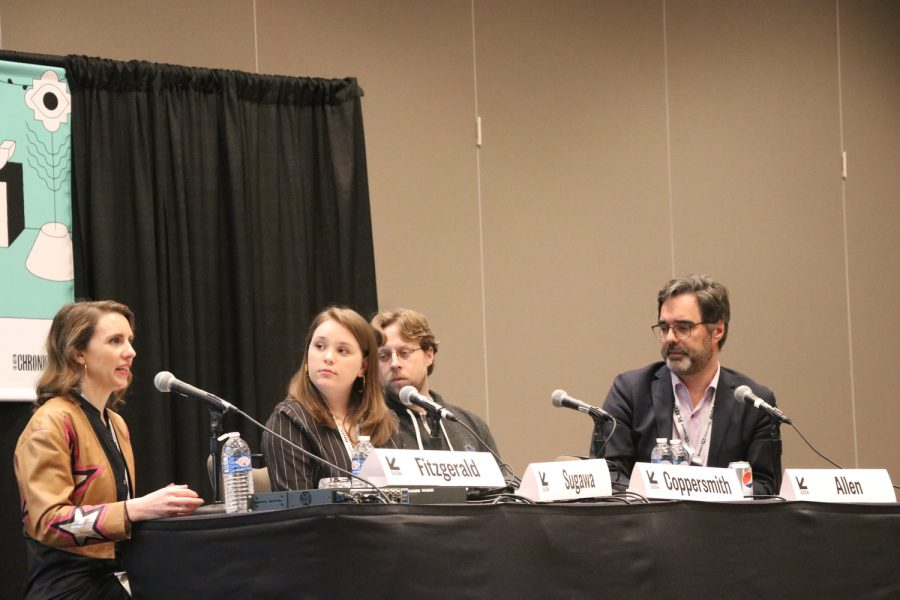 LASA+freshman+Lucy+Sugawa+moderates+the+%22What+the+F-+is+Wrong+With+My+Teenager%3F%22+panel+at+SXSW.+Sugawas+role+is+to+be+the+teen+advocate+at+the+panel+full+of+other+adults.+photo+by+Sarah+Mines